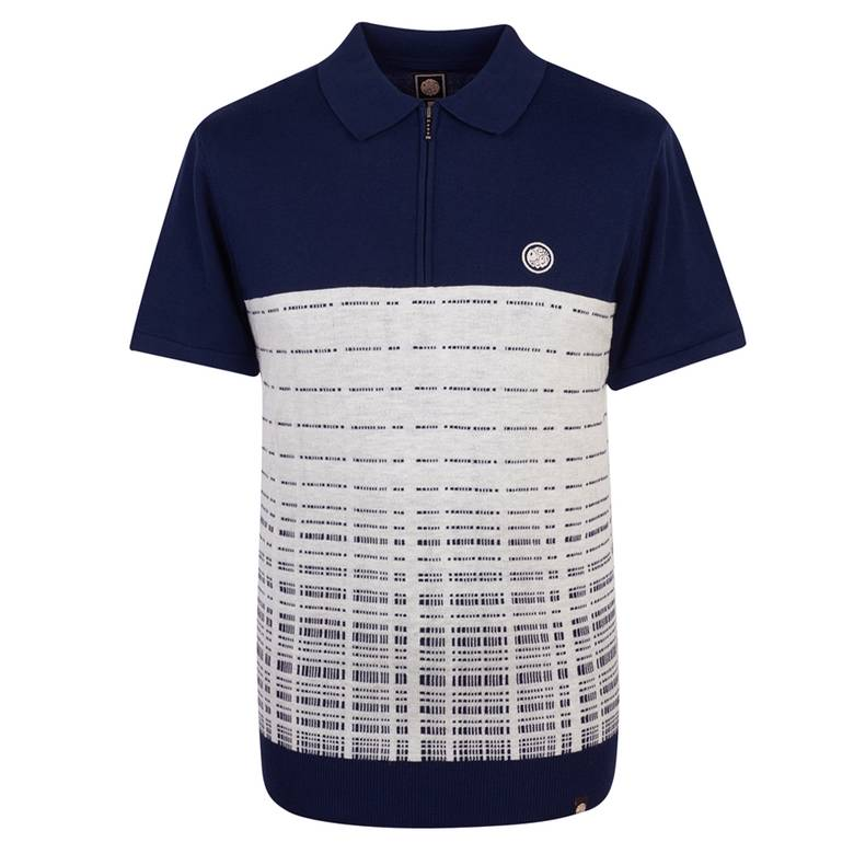 Mens Half Zip Knitted Polo Shirt