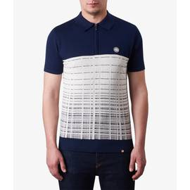 Navy  Half Zip Knitted Polo Shirt