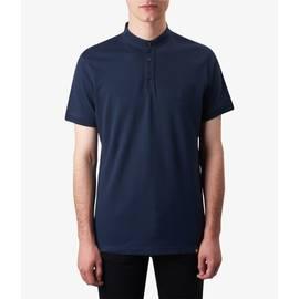 Navy  Grandad Neck T-Shirt
