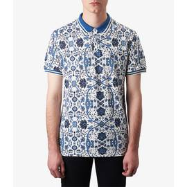 White  Pique Floral Print Polo Shirt