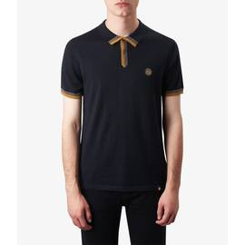 Black  Contrast Tipped Knitted Polo Shirt