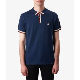 Navy  Contrast Tipped Knitted Polo Shirt