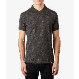 Dark Green  Paisley Print Pique Polo Shirt