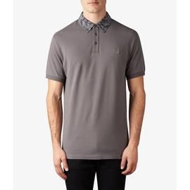 Grey  Floral Pattern Collar Polo Shirt