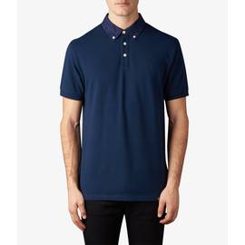 Navy  Floral Pattern Collar Polo Shirt