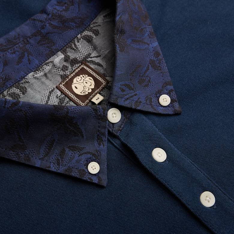 Mens Floral Pattern Collar Polo Shirt