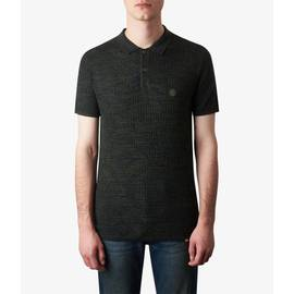 Green  Knitted Two Tone Jacquard Polo