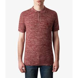 Red  Knitted Two Tone Jacquard Polo