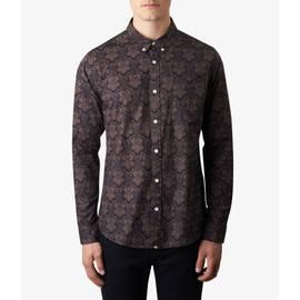 Black  Slim Fit Abstract Print Shirt