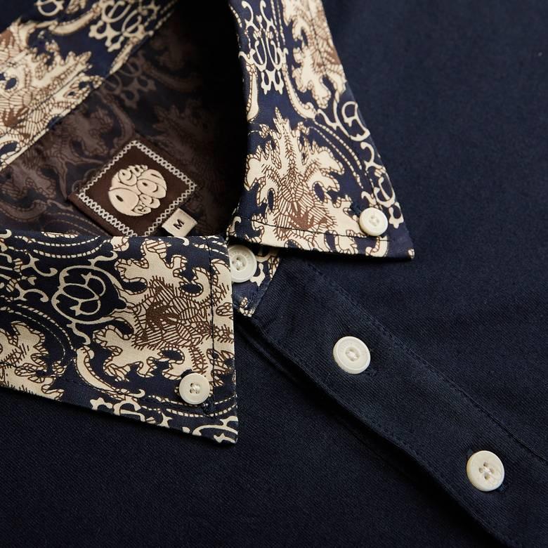 Mens Abstract Print Collar Polo Shirt