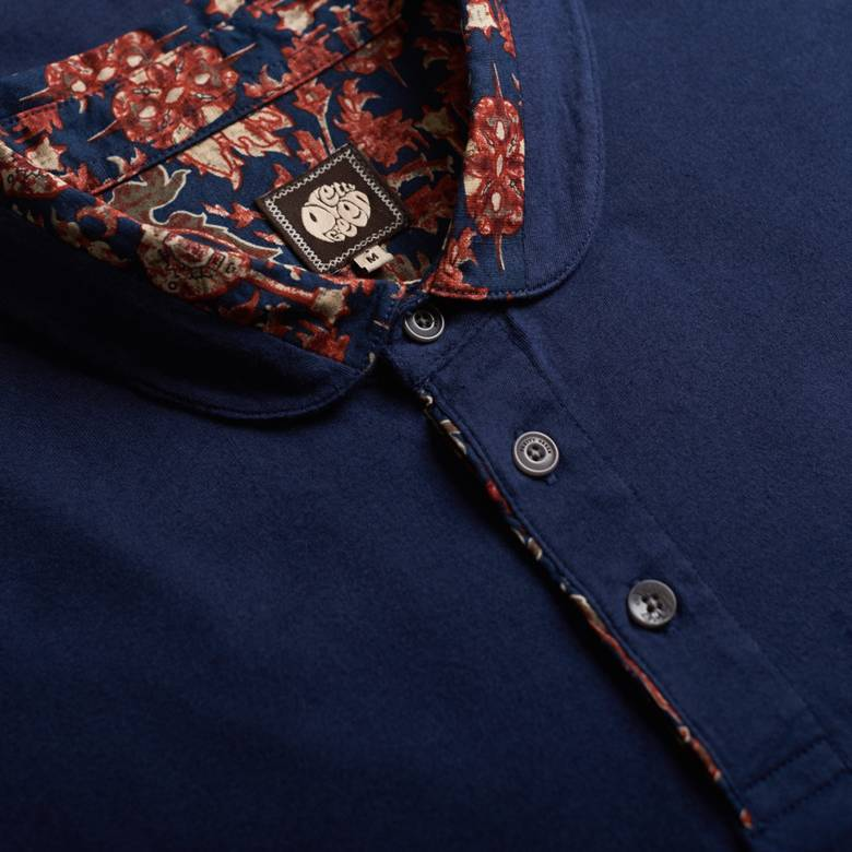 Mens Floral Print Collar Polo Shirt