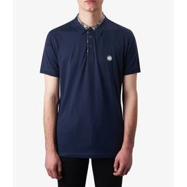 Navy  Floral Print Collar Polo Shirt