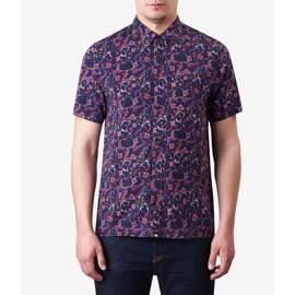 Purple  Short Sleeve Floral Print Shirt