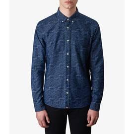 Blue  Slim Fit Leaf Patterned Shirt