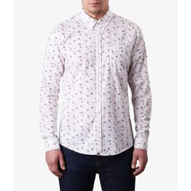 White  Slim Fit Floral Print Shirt