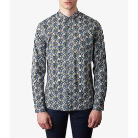 Navy  Slim Fit Floral Print Shirt