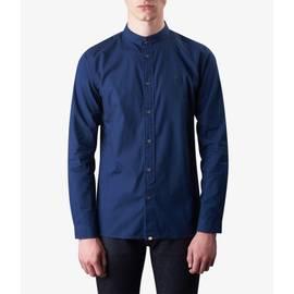 Navy  Slim Fit Kaftan Collar Shirt
