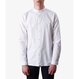 White  Slim Fit Kaftan Collar Shirt