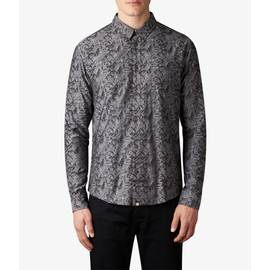Grey  Slim Fit Floral Jacquard Shirt