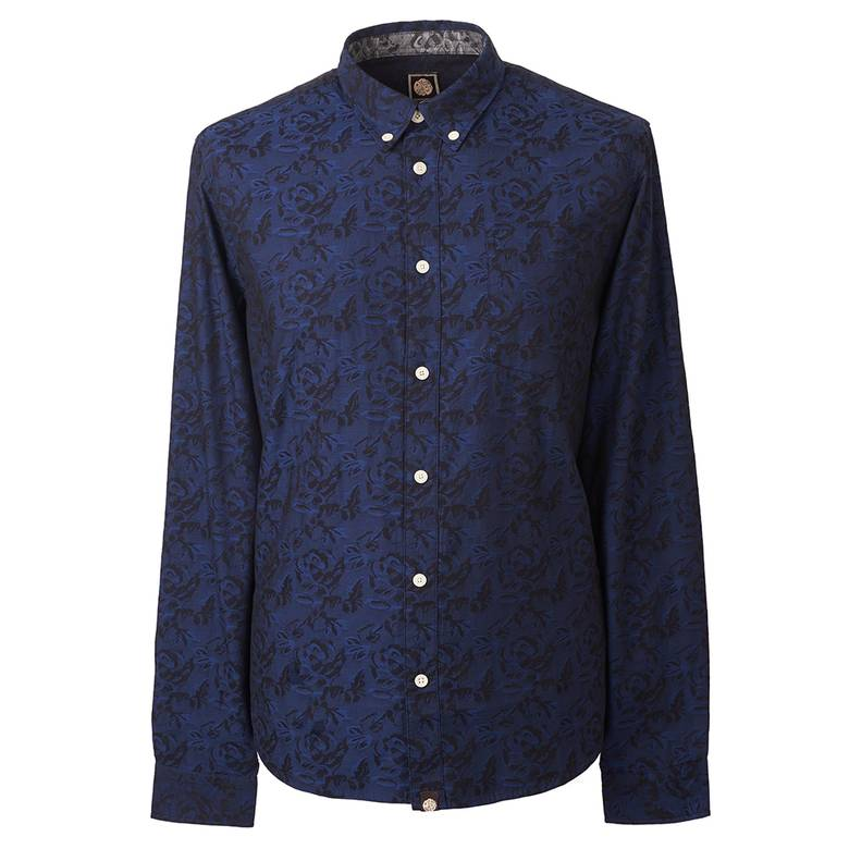 Mens Slim Fit Floral Jacquard Shirt