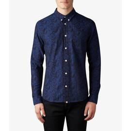 Navy  Slim Fit Floral Jacquard Shirt