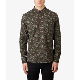 Dark Green  Slim Fit Floral Print Shirt