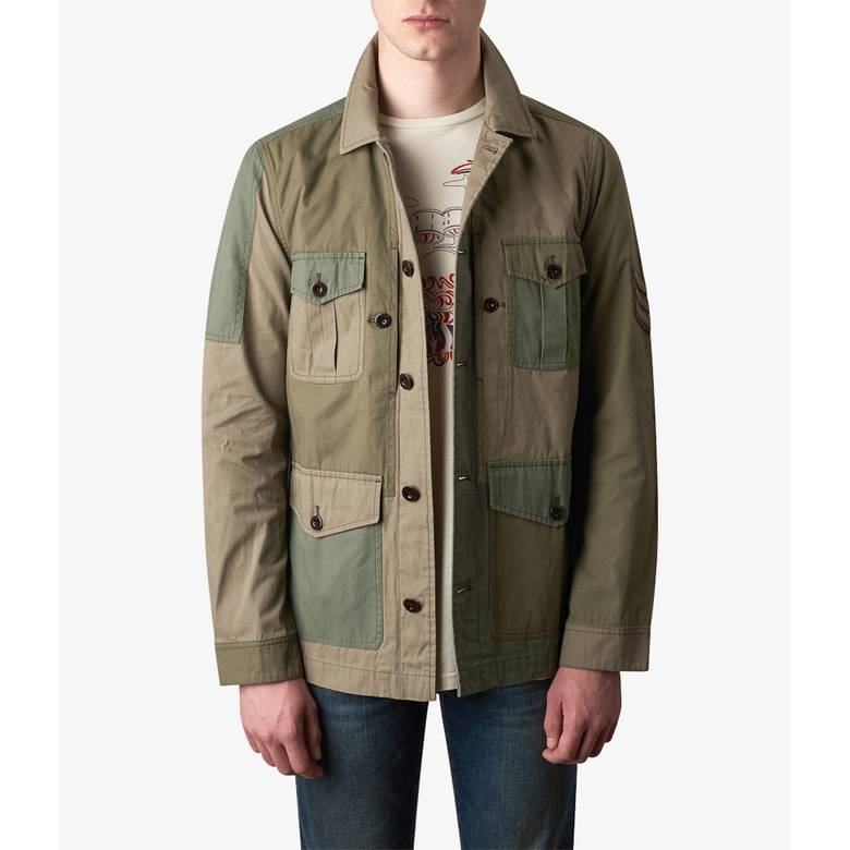 Mens Contrast Panel Overshirt