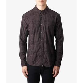Black  Slim Fit Floral Jacquard Shirt