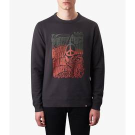 Black  Peace Print Crew Sweatshirt