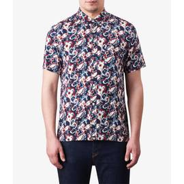 Blue  Short Sleeve Floral Print Shirt