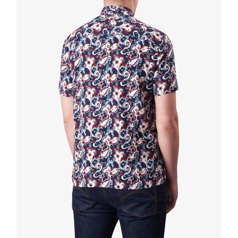 Mens Short Sleeve Floral Print Shirt