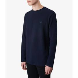 Dark Navy  Long Sleeve Waffle Texture T-Shirt