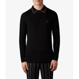 Black  Long Sleeve Tipped Knitted Polo
