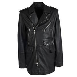 Black Longline Zip Leather Biker Jacket 7ceafef090a0