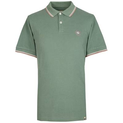PRETTY GREEN Mens Tipped Pique Polo Shirt in WHITE