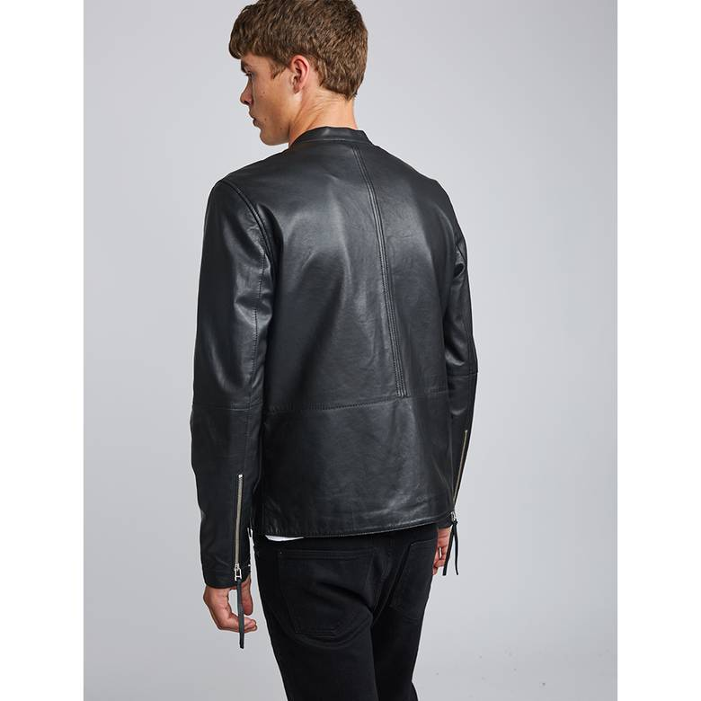 Mens Zip Up Leather Biker Jacket 4227892d109e