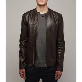 Brown  Zip Up Leather Biker Jacket