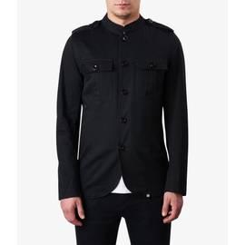 Black Mandarin Collar Military Jacket