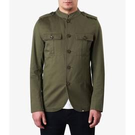 Khaki Mandarin Collar Military Jacket