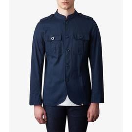 Navy Mandarin Collar Military Jacket