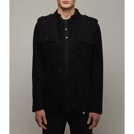 Black Mandarin Collar Corduroy Military Jacket