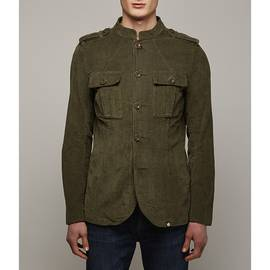 Khaki Mandarin Collar Corduroy Military Jacket