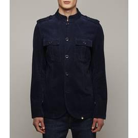 Navy Mandarin Collar Corduroy Military Jacket