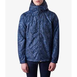 Navy  Paisley  Print Hooded Jacket