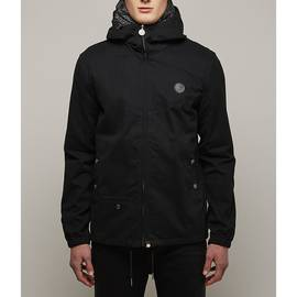 Black  Cotton Zip Up Hooded Jacket