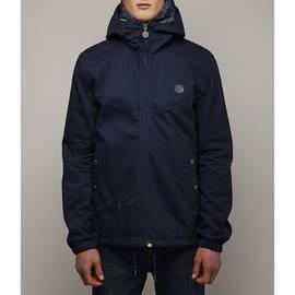 Navy  Cotton Zip Up Hooded Jacket