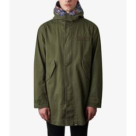 Khaki  Cotton Zip Up Hooded Parka