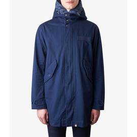 Navy  Cotton Zip Up Hooded Parka