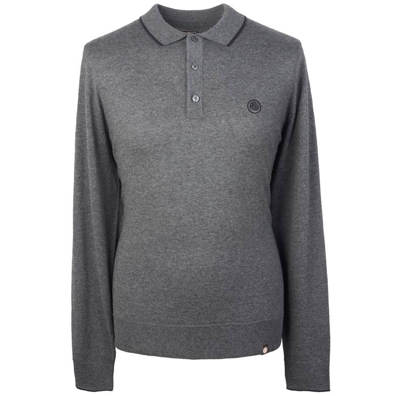 Mens Long Sleeve Tipped Knitted Polo