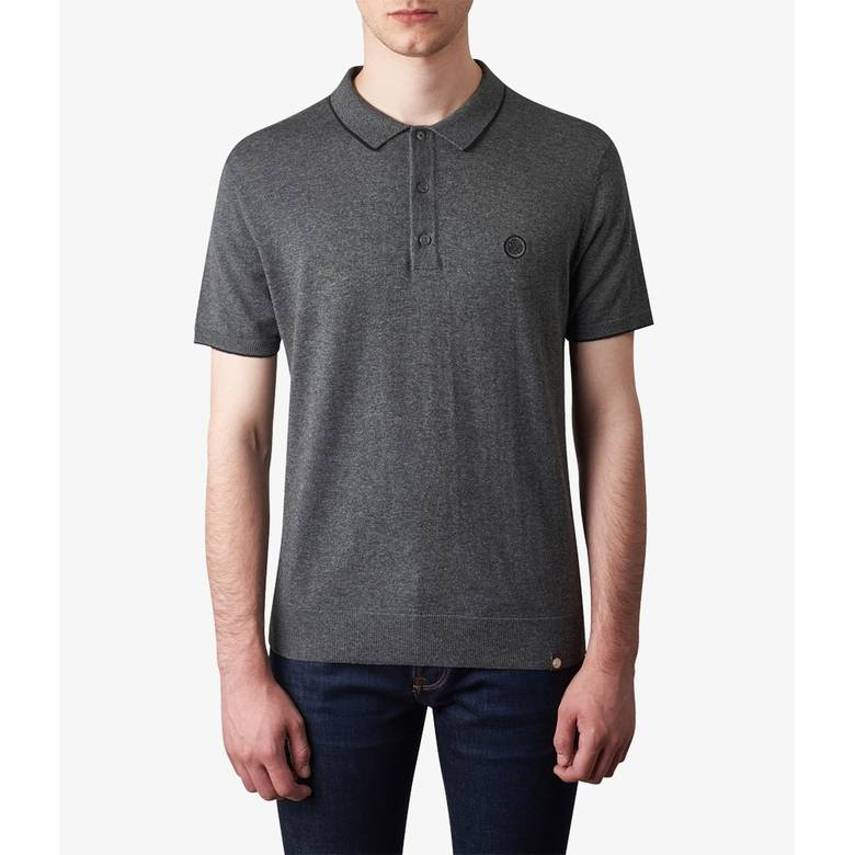 Mens Tipped Knitted Polo Shirt